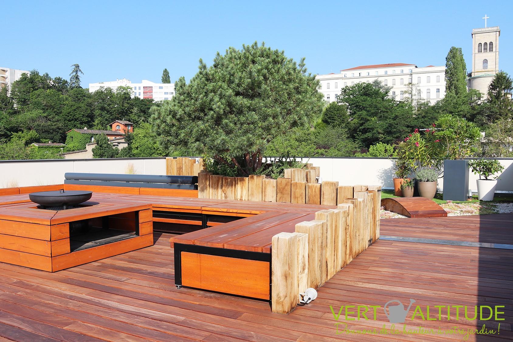 aménagement d'un jardin en rooftop pour un particulier à Lyon