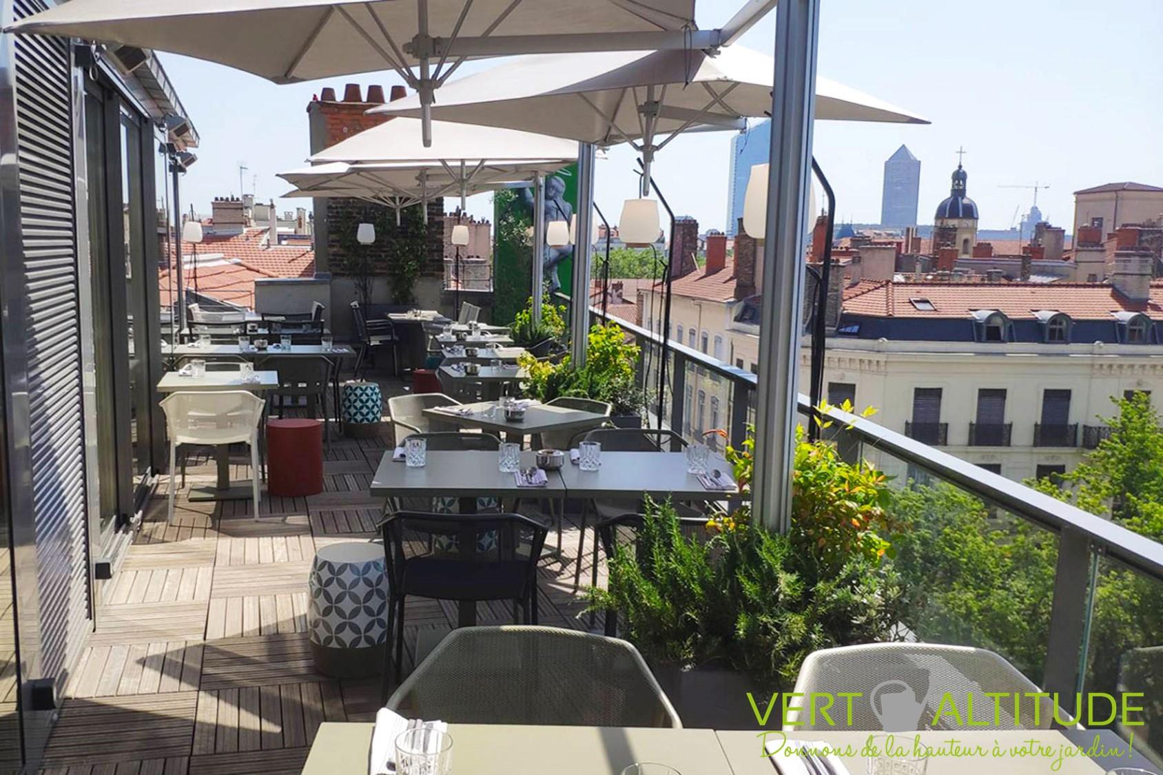 rooftop pour un hôtel restaurant par un paysagiste à Lyon